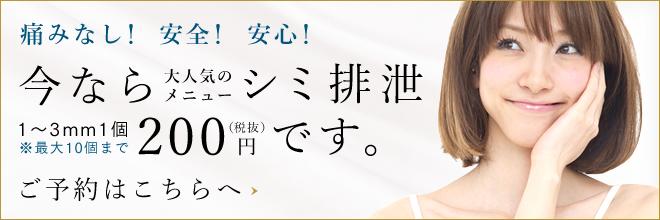 シミ排泄100円